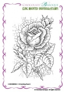Crackling Rose Individual cling mounted rubber stamp 0052