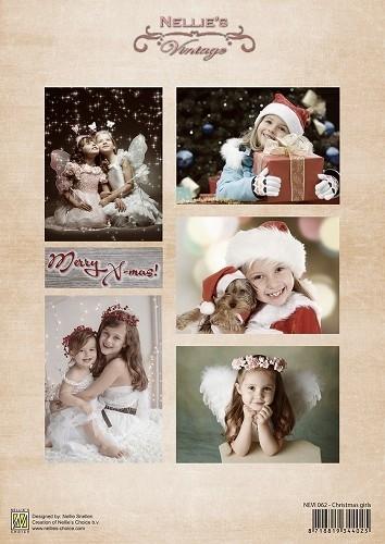 Decoupage sheet vintage Christmas girls NEVI062