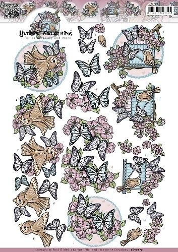 3D Knipvel - Yvonne Creations - Vlinders en vogels CD10679