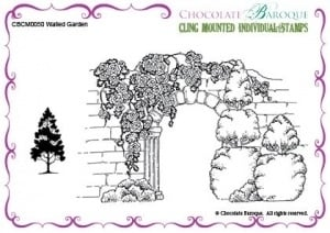 Walled Garden cling mounted rubber stamp 050