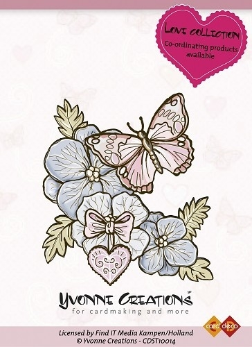 Yvonne Creations Stamps Love Butterfly CDST10014