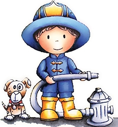 Paper Nest Dolls Rubber Stamps - Firefighter Owen PND1037