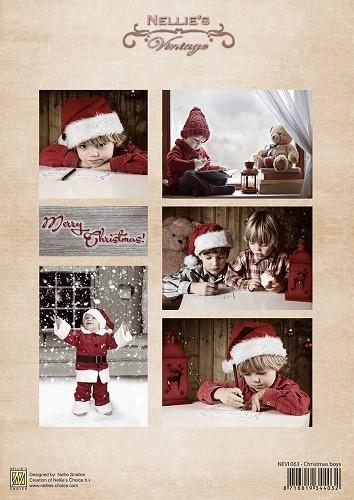Decoupage sheet vintage Christmas boys NEVI063