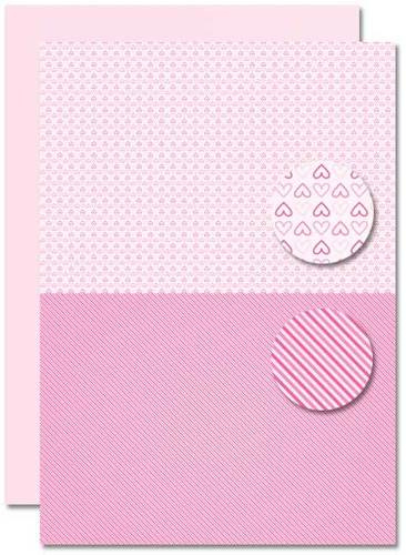 Decoupage sheet - Doublesided - Pink - Babyboy-hearts  NEVA082