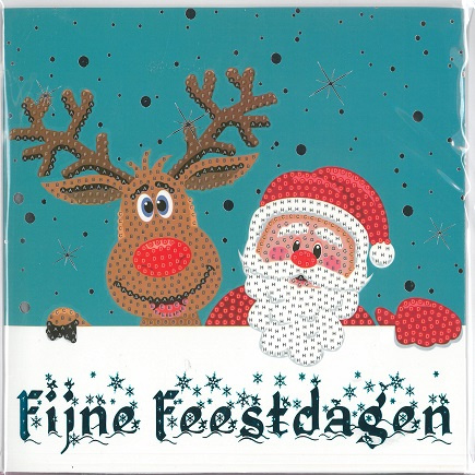 Crystal Card Kit ® Diamond Painting  Fijne Feestdagen 2 18 x 18 cm