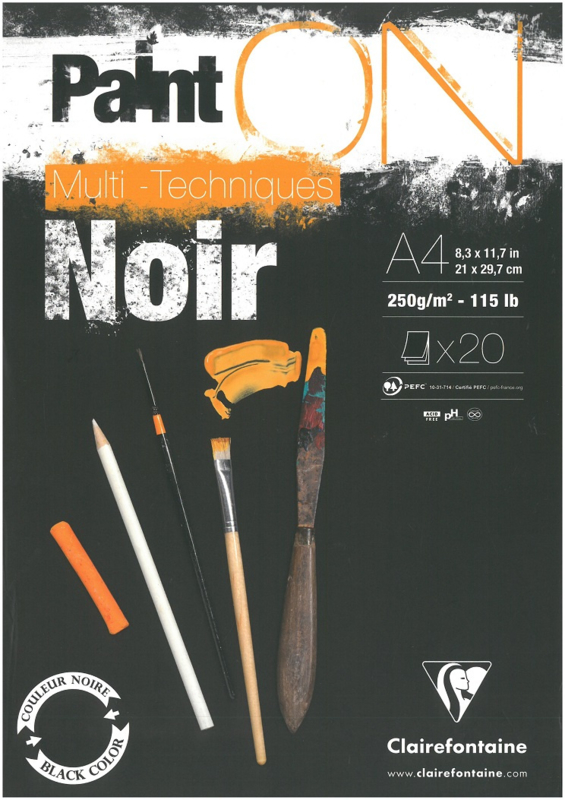 Paint'on Mix Media blok A4 Noir 250g/m² 20 vellen