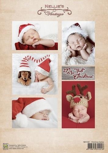 Decoupage sheet vintage Christmas babies NEVI061