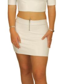 Mini rok van leer met ritsje voor
