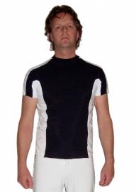 Zwart lycra heren shirt met wit lak
