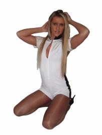 Witte catsuit met streep