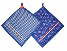 Pannelap in boerenbont blauw-wit