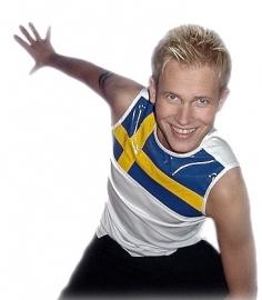 Wit heren shirt met PVC in blauw-geel