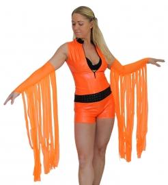 Oranje tulen handschoenen met slierten