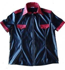 Zwart/rood leren heren shirt met rits