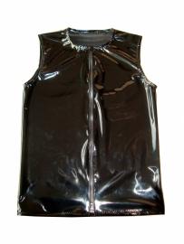 Zwart lak mouwloos shirt