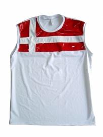 Heren wit lycra shirt met rood lak
