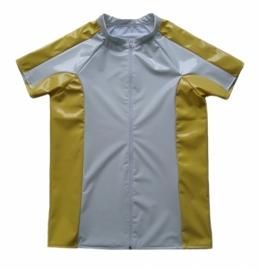 Heren lak shirt met rits wit-geel