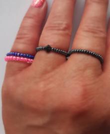 Ring elastisch metallic antraciet