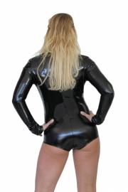 Lak bodysuit in zwart