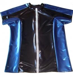 Lak shirt metallic navy/zwart