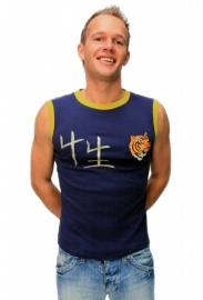 Blauw heren shirt met tijger