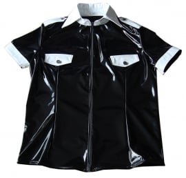 Zwart lak shirt met kraag