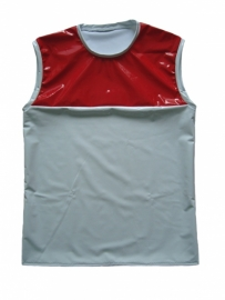 PVC shirt in wit met rood