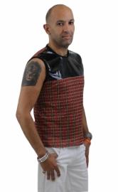 Heren ruitjes shirt met zwart lak