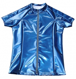 Heren lak shirt in metallic navy met rits