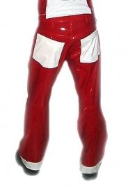 Heren lakbroek rood-wit