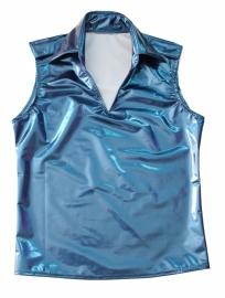 Metallic blauw lak heren shirt
