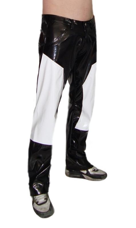 Heren lakbroek in zwart/wit
