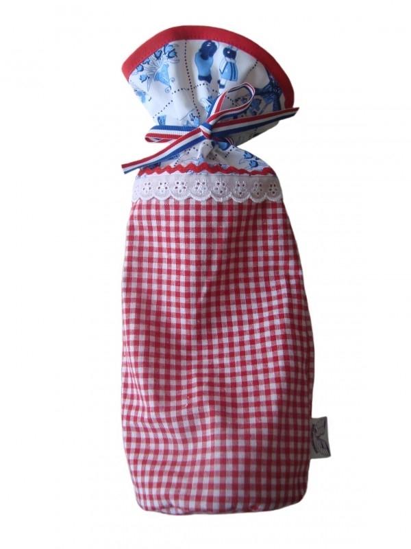 Kruikzak Delfts blauw met rood boerenbont