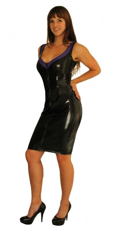 Zwart lak jurkje met rits