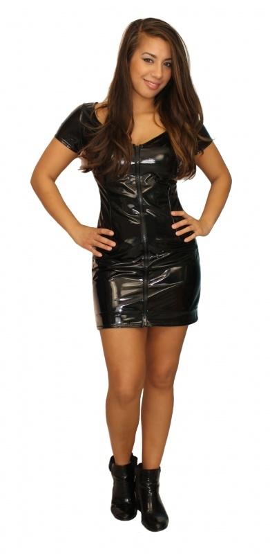 Zwart lak jurkje
