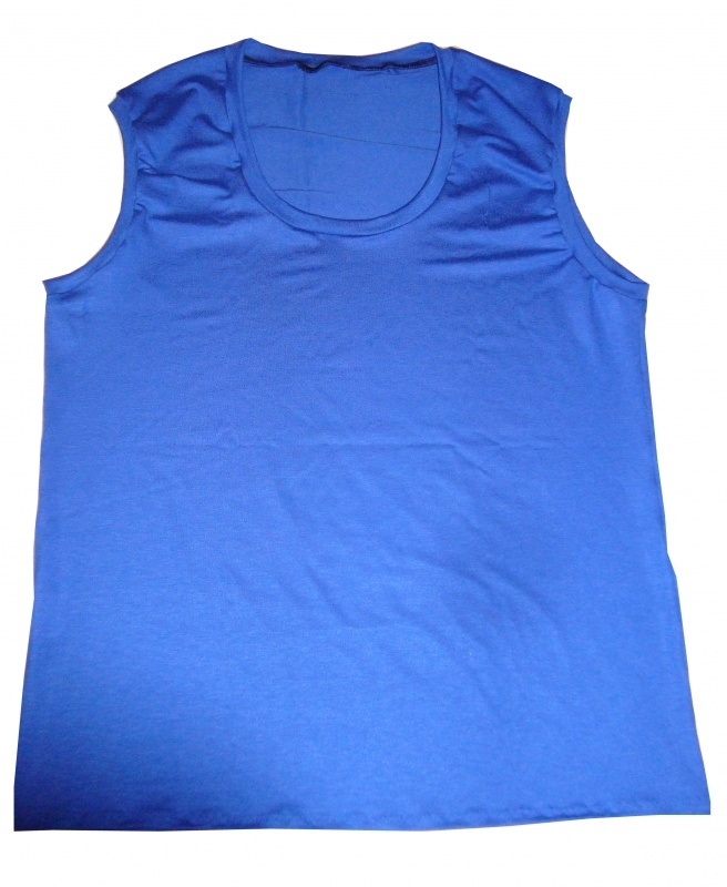 Blauw heren shirt lage hals