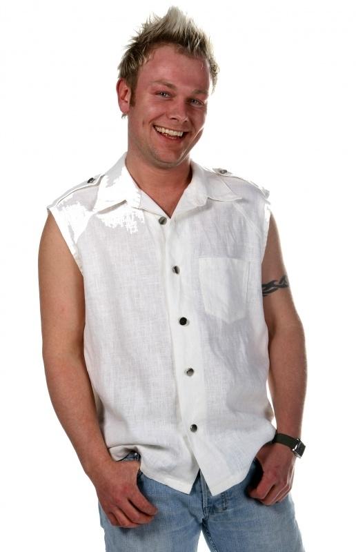 Witte linnen heren blouse