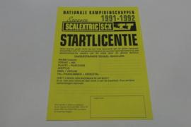 SCX startlicentie  1991-1992