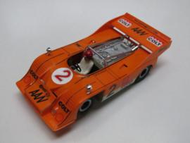 "Porsche Can-Am oranje nr. 2 met opdruk ""COLT"" (spiegels chrome)"