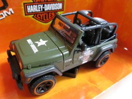 "Maisto, Jeep Wrangler Rubicon ""Motor Harley-Davidson Cyclus"" (groen)"
