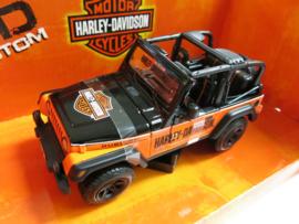 "Maisto, Jeep Wrangler Rubicon ""Motor Harley-Davidson Cyclus"" (oranje/zwart)"