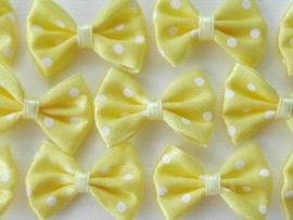 (Sp-003) Strikje met stipjes  -  geel - 3cm