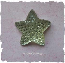 (FL-st-004) Flatback - ster - glitter - goud - 16mm