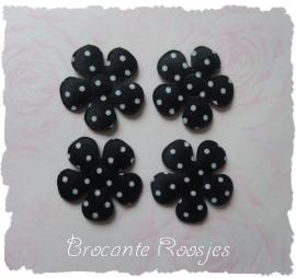 (BLs-027) 4 polka dot bloemetjes - satijn - zwart - 35mm