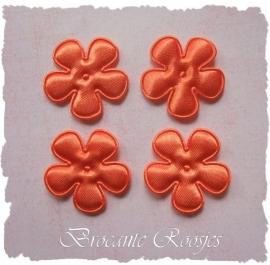 (BLE-025) 4 satijnen bloemetjes - oranje - 25mm