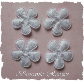 (BL-ka-003) 4 bloemen met kant - wit - 35mm
