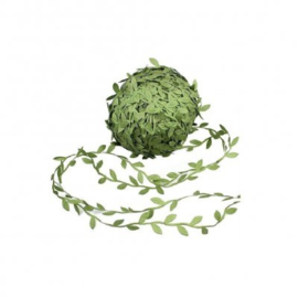 (SI-003) Sierband - satijn - blaadjes - olijfgroen - 3cm br.