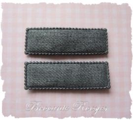 (HO-RE-006) 2 hoesjes - recht - denim - grijs