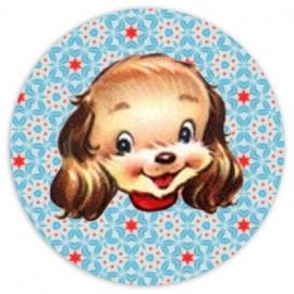 (FB-010) Flatback button - vintage hondje - blauw