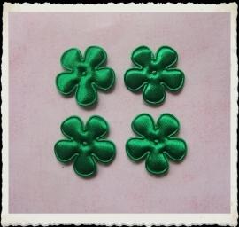 (BLE-027) 4 satijnen bloemetjes - groen - 25mm